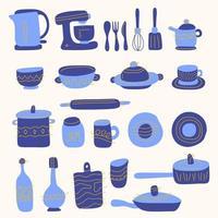 verzameling glaswerk, keukengerei en kookgerei. set keukengerei voor thuis koken en gereedschappen voor voedselbereiding geïsoleerd op een witte achtergrond. gekleurde vectorillustratie in doodle stijl. vector