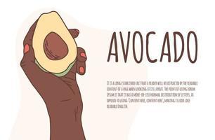 Afrikaanse hand houdt een avocado op een geïsoleerde achtergrond vector banner. goede voeding, veganistisch. eco-product. avocado in hand stijlvolle platte cartoon vectorillustratie met kopie ruimte voor tekst