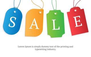 realistische kleurrijke papieren prijskaartje met tekst verkoop voorraad vectorillustratie. kartonnen label, papieren verkooplabels mockup-labelsjabloon winkelen cadeau-stickers met touwen-tags en kopie ruimte voor tekst vector