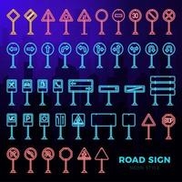 vector mega set doodle verkeersborden in neon stijl. handgetekende verkeersbordpictogrammen geïsoleerd op de donkere achtergrond van het stadslandschap.