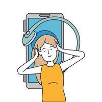 jonge vrouw met oortelefoons en smartphone