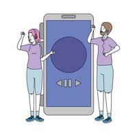 jonge paar vrienden luisteren muziek met smartphone