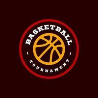 moderne professionele typografie basketbal sport retro stijl vector embleem en sjabloon logo-ontwerp. grappige groeten voor kleding, kaart, badge, pictogram, briefkaart, banner, label, stickers, print