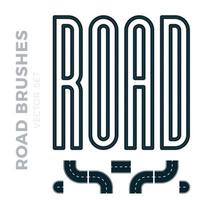 vectorillustratie die snelweggrens of asfaltpatroonborstel omvat en klaar voor gebruik bochten, perspectieven, bochten, wendingen, lussen, elementen, weg met witte aftekeningen, geïsoleerd op wit.