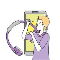 jonge man met koptelefoon en smartphone