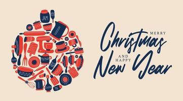 vrolijk kerstfeest culinair thema. het keukengerei is neergelegd in de vorm van een kerstbal. vectorillustratie van een kerstkaart in doodle stijl