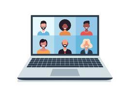 groep mensen praten in videocall conferentie, sociale afstand nemen. vectorillustratie van mensen met communicatie via telewerksysteem.