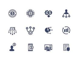 financieel beheer en financiële planning pictogrammen ingesteld op wit vector