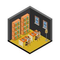 isometrisch klaslokaal met boekenplanken