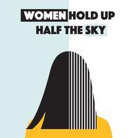 Vrouwen houden de helft van de hemelvector omhoog vector