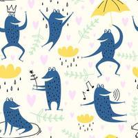 schattige cartoon kikkers. vector set dier van amfibie pad tekening, groene kikker collectie illustratie. kikkers, regen, bloemen en lucht. mooie dieren in Scandinavische stijl. concept voor kinderen afdrukken