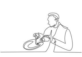 continu een lijntekening, vector van man ontbijt eten. minimalisme ontwerp met eenvoud hand getekend geïsoleerd op een witte achtergrond.