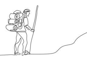 continu een lijntekening van handgetekende reizende mensen met rugzakken silhouetten. de toeristische wandelrugzak picknick bergen. karakter man doet wandelen, wandelen op de heuvel vector