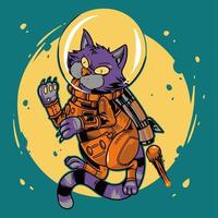 hand getrokken kattenastronaut die in de ruimte vliegt en raket gebruikt vector