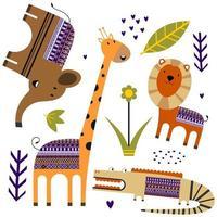 schattige jungle dieren met bloem, palmblad, planten patroon achtergrond. tropische dieren. perfect voor decoratief, kinderproduct, mode, stof, behang en alle afdrukken. vector illustratie