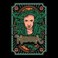cool medusa's hoofd illustratie voor t-shirt, poster of logo. medusa hoofd hand getrokken illustratie geïsoleerd op zwarte achtergrond
