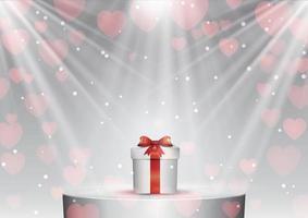 Valentijnsdag achtergrond met cadeau onder schijnwerpers