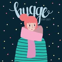 Kleurrijke illustratie van een meisje met een Hygge Vibe vector