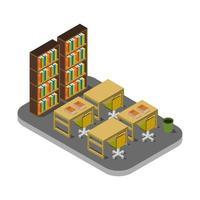 isometrische bibliotheekruimte op witte achtergrond