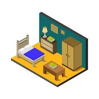 isometrische slaapkamer op witte achtergrond