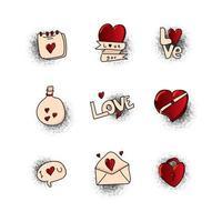 popart valentijn element ontwerp collectie vector