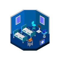 isometrische ziekenhuiskamer op witte achtergrond