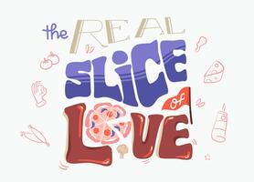 Pizza minnaar typografie illustratie vector plat
