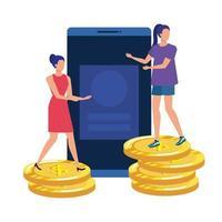 jonge vrouwen met smartphone en geld
