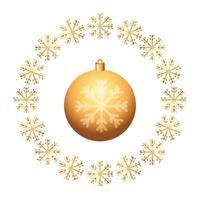 bal kerst in frame circulaire van sneeuwvlokken