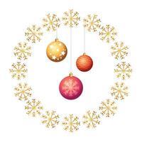 ballen kerst in frame circulaire van sneeuwvlokken