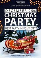 kerstfeest, beste feest in je stad, poster met witte letters, winterlandschap op achtergrond, kerstman met cadeautjes en slinger vector