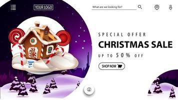 speciale aanbieding, kerstuitverkoop, tot 50 korting, mooie witte kortingsbanner voor website in minimalistische witte stijl met winterlandschap op achtergrond en kerst peperkoekhuis