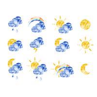 Vector aquarel weerpictogrammen