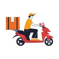 man met masker die bestelling op scooter levert vector