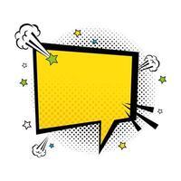 tekstballon gele kleur pop-art stijl