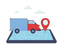 vrachtvrachtwagen die een online bestelling aflevert