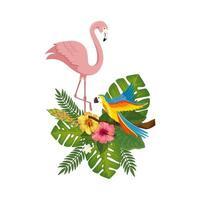 flamingo roze met papegaai met bloemen en bladeren vector