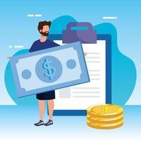 jonge man met checklist en geld