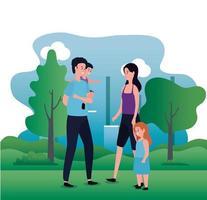 ouders echtpaar met dochter en zoon op het park