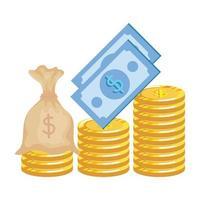 munten geld dollars met rekeningen en tas