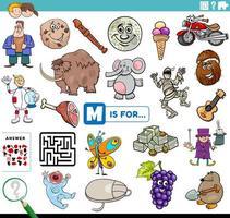 letter m woorden educatieve taak voor kinderen vector