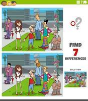 verschillen educatief spel met cartoon mensen vector