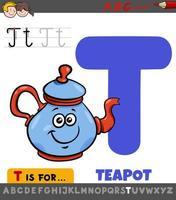 letter t educatief werkblad met cartoon theepot vector
