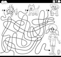 doolhof met meisje en huisdieren kleurboekpagina vector
