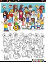 cartoon kinderen tekens groep kleurboekpagina vector