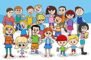 groep kinderen en tieners stripfiguren vector