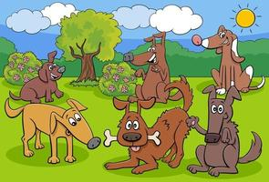 speelse honden en puppy's stripfiguren groep vector