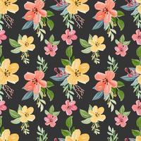 naadloos patroon met bloemenwaterverfthema vector