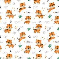 kinderen baby naadloze patroon met schattige tijger vector