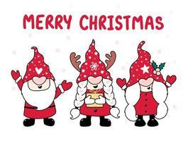 boom gelukkig gnome in rode hoed, vrolijk kerstfeest